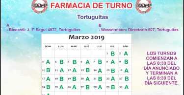 Farmacia de turno Marzo: Tortuguitas