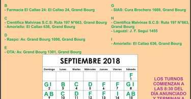 Farmacia de turno Mes de Septiembre: Grand Bourg.