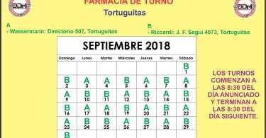 Farmacia de turno Mes de Septiembre: Tortuguitas.