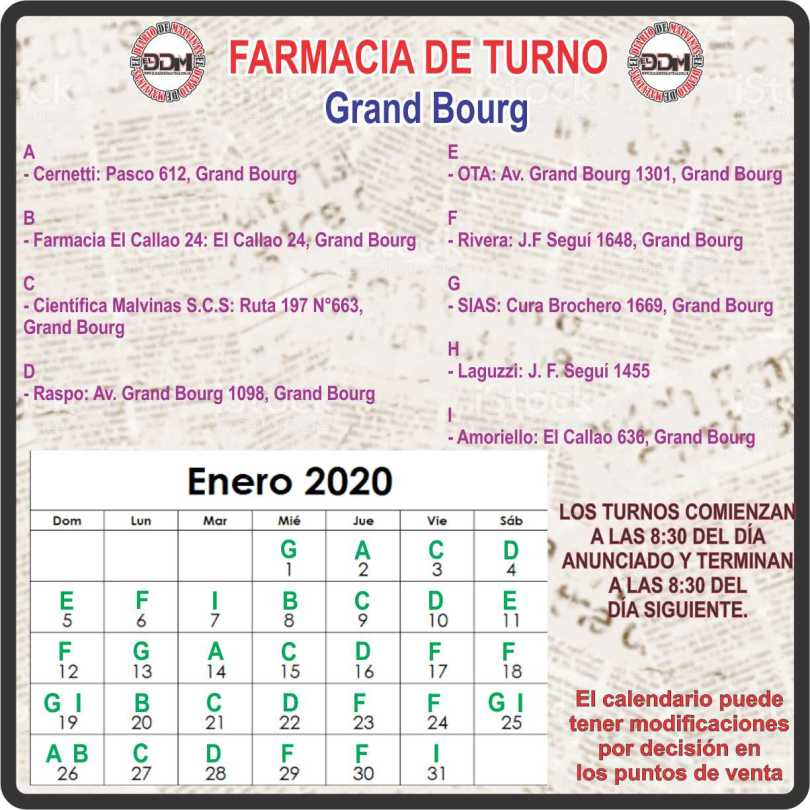 Farmacias de turno: Grand Bourg