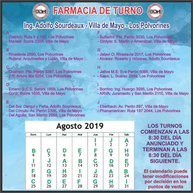 Farmacias de turno: Ing. Adolfo Soudeaux - Villa de Mayo - Los Polvorines