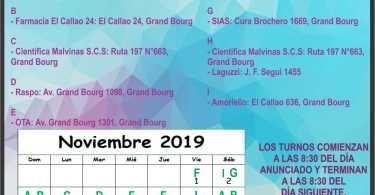 Farmacias de turno Noviembre 2019: Grand Bourg