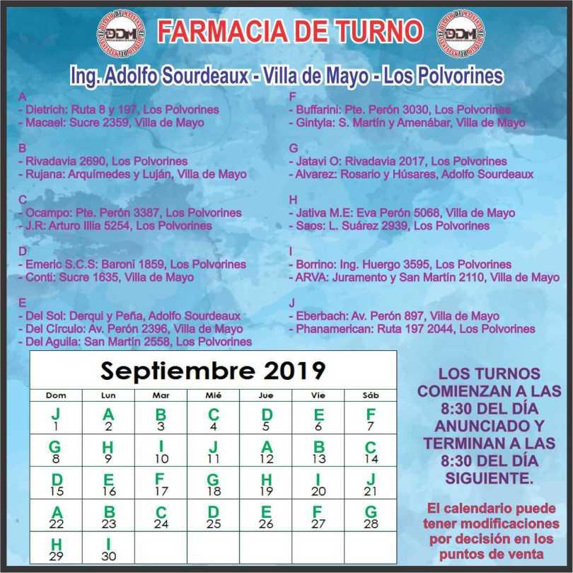 Farmacia de turtno: Ing Adolfo Sourdeaux - Villa de Mayo - Los Polvorines