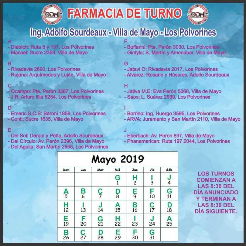 Farmacia de turno: Ing. Adolfo Sourdeaux - Villa de Mayo - Los Polvorines
