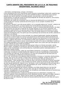 CARTA ABIERTA DEL PRESIDENTE DE LA U-1
