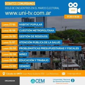 Debates conurbanos + agenda